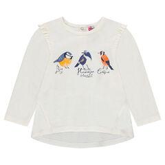 Slub jersey tunic with frills and bird print