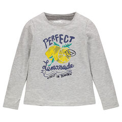 Long-sleeved T-shirt with sparkly decorative print