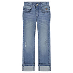 Used and crinkled-effect slim fit jeans