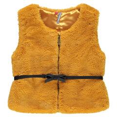 Sleeveless fake fur jacket with belt