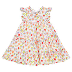 Frilled dress with printed flowers