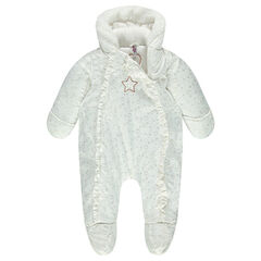 Padded snowsuit with hood and printed hearts and stars