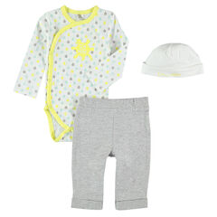 3-piece ensemble with bodysuit, pants and cap