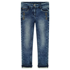 Slim fit fleece jeans with embroidery