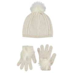 Ensemble with cap and gloves in sparkly knit fabric with pompoms