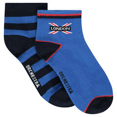 Set of 2 pairs of assorted socks, striped/plain with motif