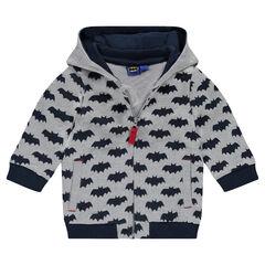 Hooded fleece jacket with BATMAN printed all over