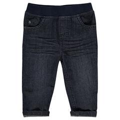 Used style elastic waist jeans