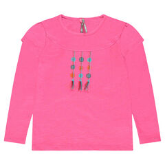 Long-sleeved 2-in-1 effect tee-shirt with embroidery and pompoms
