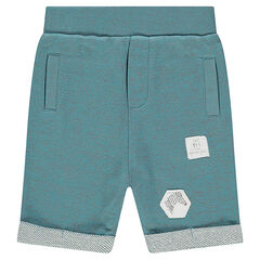 Fleece bermuda shorts with patches