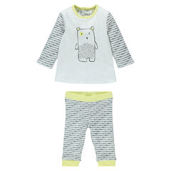 Reversible baby bear cub print jersey ensemble
