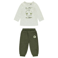 ©Smiley ensemble with printed tee-shirt and khaki velvet pants