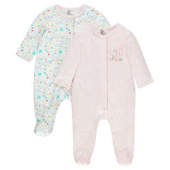 Set of 2 cotton footed sleepers