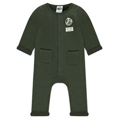 Khaki fleece jumpsuit with Smiley Badge and pockets