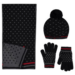 Ensemble with polka-dotted knit beret, scarf and gloves