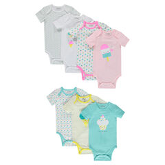 Set of 7 bodysuits featuring printed ice cream desserts with opening adapted according to the age