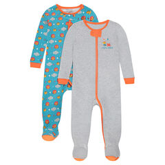 Set of 2 zipped jersey footed sleepers