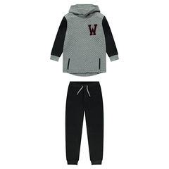 Fleece sweatsuit with terry loop knit letter