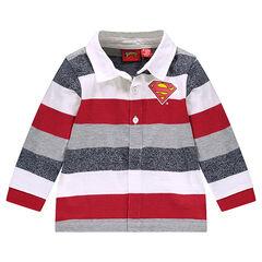Long-sleeved striped polo shirt with ©Warner Superman printed logo