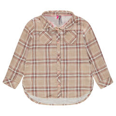 Long-sleeved checkered shirt with pockets