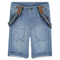 Used-effect denim bermuda shorts with straps