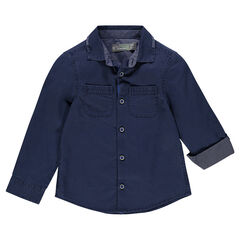 Long-sleeved dobby shirt with 2 patch pockets