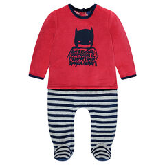 2-in-1 effect velvet footed sleeper with BATMAN print