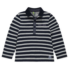 Long-sleeved striped polo shirt with chambray details
