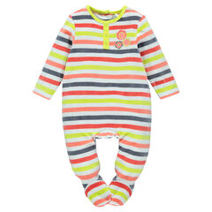 Footed sleeper with multicolored stripes and opening adapted according to the age