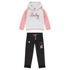 Fleece sweatsuit ensemble with badges and embroidery
