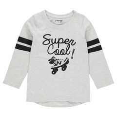 Long sleeve creative print T-shirt with contrasting bands
