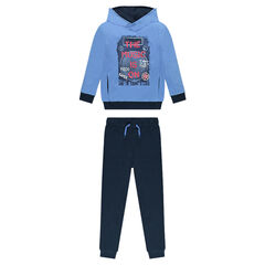 Two-tone fleece sweatsuit with printed messages
