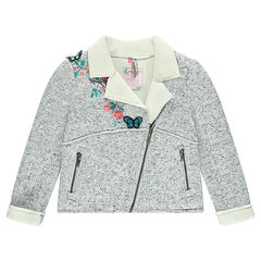 Knit biker jacket with sherpa lining and embroidery