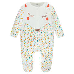 Printed velvet footed sleeper with embroidered fox head
