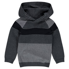 Ottoman knit sweater with hood
