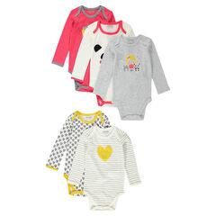 Set of 5 trendy long-sleeved bodysuits with opening adapted according to the age