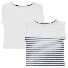 Junior - Set of 2 short-sleeved box cut plain-colored/printed tee-shirts