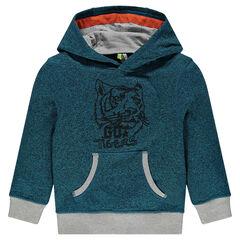 Hooded fleece sweatshirt with embroidered tiger
