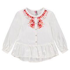 Light tunic with frill and embroidery