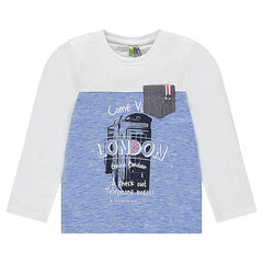 """Long-sleeved tee-shirt with """"London"""" visual printed on the front"""