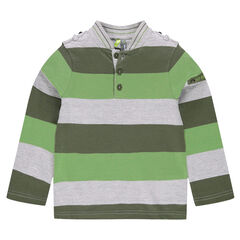 Long-sleeved striped polo shirt with letterman collar