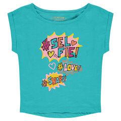 Short-sleeved, box-cut tee-shirt with decorative print