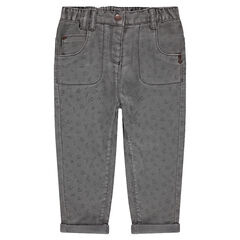 Printed cotton pants with jersey lining