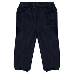 Raw denim jeans with elasticated waistband and ankles