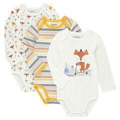 Set of 3 jersey bodysuits with printed foxes