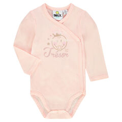 Long-sleeved plain-colored bodysuit with shiny ©Smiley Baby print