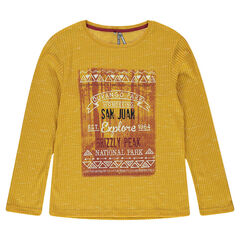 Junior - Long-sleeved, rib knit tee-shirt with decorative print in front
