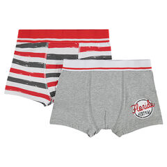 Junior - Set of 2 assorted striped/plain-colored boxers with print