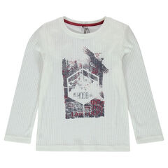 Long-sleeved, rib knit tee-shirt with decorative print in front