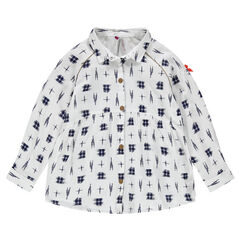 Long-sleeved fluid shirt with print
